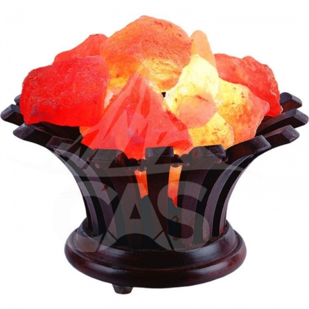 Himalayan Salt Wooden Flower Basket Lamp