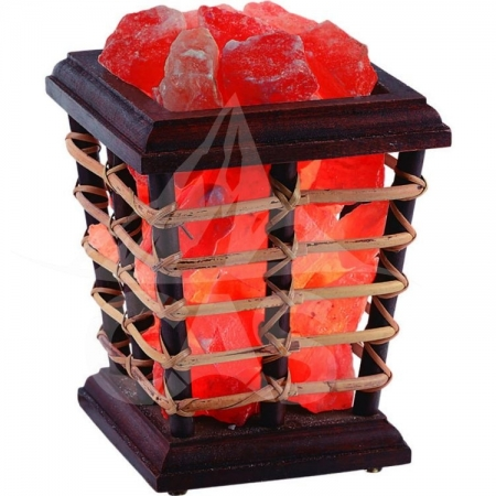 Himalayan Salt WoodenCane Basket Lamp
